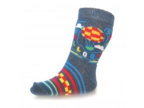 Dojčenské bavlnené ponožky New Baby sivé sky baloon