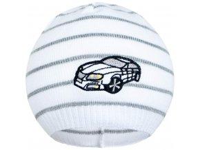 Jarná čiapočka New Baby s autíčkom bielo-tmavo sivá