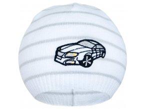 Jarná čiapočka New Baby s autíčkom bielo-svetlo sivá