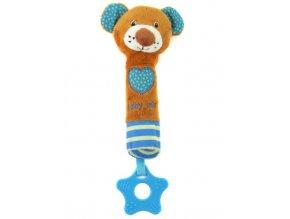 Detská pískacia plyšová hračka s hryzátkom Baby Mix medvedík modrá