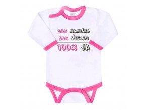 Body s potlačou New Baby 50% MAMIČKA + 50% OTECKO - 100% JA ružové