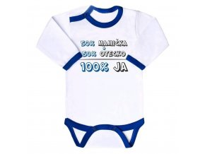 Body s potlačou New Baby 50% MAMIČKA + 50% OTECKO - 100% JA modré