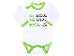Body s potlačou New Baby 50% MAMIČKA + 50% OTECKO - 100% JA zelené