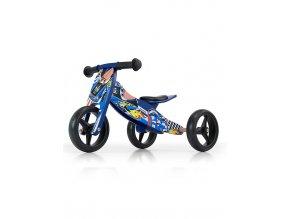 Detské multifunkčné odrážadlo bicykel 2v1 Milly Mally JAKE Blue Cars