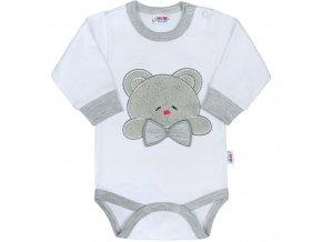 Luxusné dojčenské body s dlhým rukávom New Baby Honey Bear s 3D aplikáciou