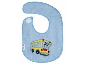 Detský froté podbradník Akuku modrý s autobusom