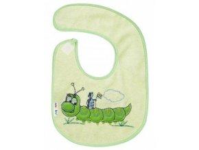 Detský froté podbradník Akuku zelený s húsenicou