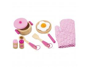 Detský drevený riad Viga-raňajky ružový