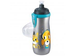 Detská fľaša NUK Sports Cup psíček a mačička 450 ml sivá