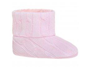 Detské zimné capáčky Bobo Baby 6-12m ružový úplet