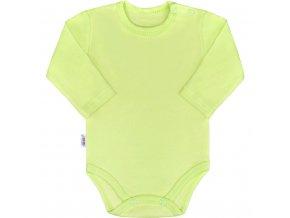 Dojčenské bavlnené body s dlhým rukávom New Baby Pastel zelené