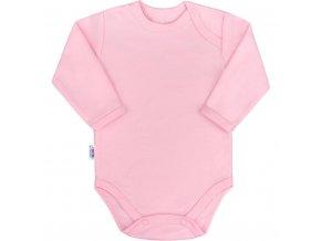 Dojčenské bavlnené body s dlhým rukávom New Baby Pastel ružové