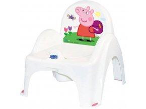 Hrajúci detský nočník s poklopom Prasiatko Peppa white-pink