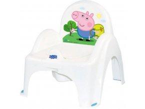 Hrajúci detský nočník s poklopom Prasiatko Peppa white-blue