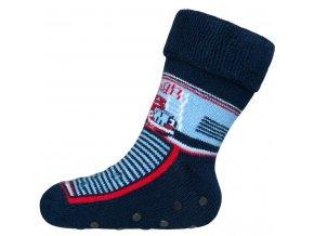 Detské froté ponožky New Baby s ABS tmavo modré s hasičom
