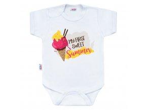 Body s potlačou New Baby MY FIRST SWEET Summer ružové