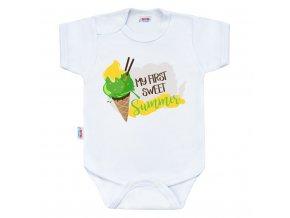 Body s potlačou New Baby MY FIRST SWEET Summer zelené