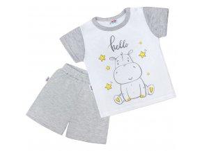 Detské letné pyžamko New Baby Hello s hrošíkom bielo-sivé