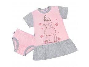 Letná nočná košieľka s nohavičkami New Baby Hello s hrošíkom ružovo-sivá