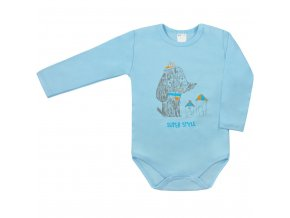 Dojčenské body s dlhým rukávom Super Style Amma modré