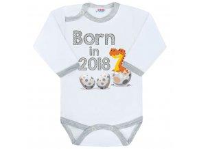 Body s potlačou New Baby Born in 2018 sivo-biele