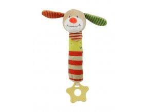 Detská pískacia plyšová hračka s hryzátkom Baby Mix psík