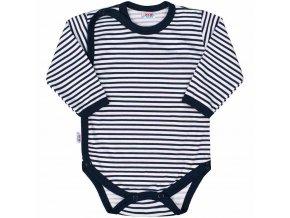 Dojčenské body celorozopínacie New Baby Classic II s modrými pruhmi