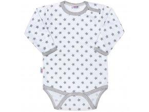 Dojčenské body New Baby Classic II sivé s hviezdičkami