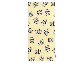 Flanelová plienka s potlačou New Baby žltá s pandami