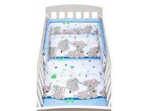 3-dielne posteľné obliečky New Baby 100/135 cm modré so sloníky