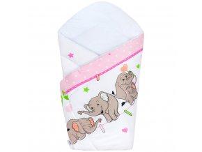 Detská zavinovačka New Baby rúžová so sloníky