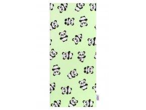 Flanelová plienka s potlačou New Baby zelená s pandami