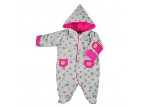 Zimná dojčenská kombinéza Koala Nelly sivo-ružová