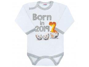 Body s potlačou New Baby Born in 2019 sivo-biele