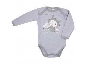 Dojčenské body s dlhým rukávom Koala Clouds sivé