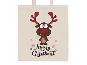 Bavlnená nákupná taška prírodná s potlačou New Baby Merry Christmas