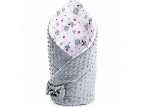 Obojstranná zavinovačka z Minky New Baby 75x75 cm teddy sivá hviezdičky ružové