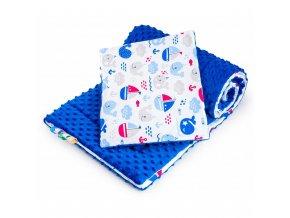 Obojstranný Set z Minky do kočíka New Baby more modrý