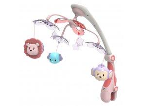 Kolotoč nad postieľku so svetelným projektorom Baby Mix safari rúžový