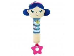 Detská pískacia plyšová hračka s hryzátkom Baby Mix námorník dievča blue