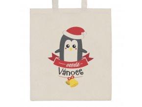 Bavlnená nákupná taška prírodná s potlačou New Baby veselé Vánoce