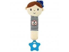 Detská pískacia plyšová hračka s hryzátkom Baby Mix námorník chlapec