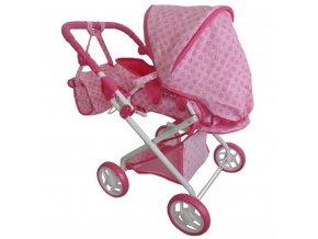 Detský kočík pre bábiky 2v1 Baby Mix ružový s kvetinkami