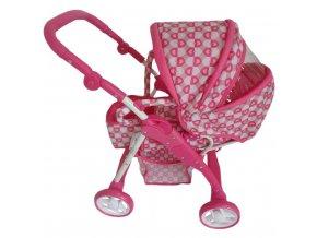 Detský kočík pre bábiky 2v1 Baby Mix ružový - srdiečka