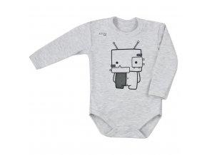 Dojčenské body s dlhým rukávom Koala Robot sivé