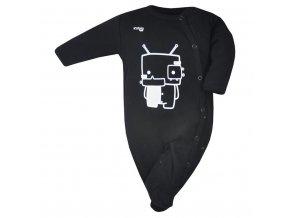 Dojčenský bavlnený overal Koala Robot čierny