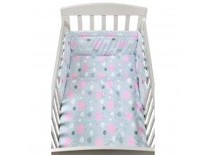 3-dielne posteľné obliečky New Baby 90/120 cm obláčiky ružové