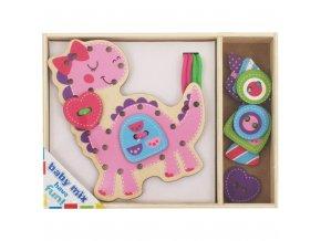 Drevená prepletacia hračka Baby Mix Dino