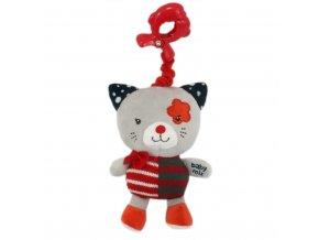 Detská plyšová hračka s hracím strojčekom Baby Mix mačička červená