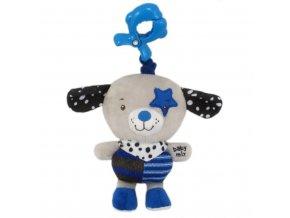 Detská plyšová hračka s hracím strojčekom Baby Mix psíček modrá